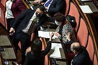 The secretary of Italia Viva Matteo Renzi and the former Minister of Agricolture, Teresa Bellanova during the information at the Senate about the government crisis.<br /> Rome(Italy), January 19th 2021<br /> Photo Pool Roberto Monaldo/Insidefoto