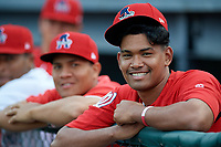Auburn Doubledays Niomar Gomez (right) and Gilberto Chu (left) during a NY-Penn League game against the Mahoning Valley Scrappers on August 27, 2019 at Falcon Park in Auburn, New York.  Auburn defeated Mahoning Valley 3-2 in ten innings.  (Mike Janes/Four Seam Images)