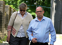 Pictured: Robert Davies Hughes (R) outside Llanelli Magistrates Court. Thursday 15 June 2017<br />
