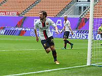 Milano  18-04-2021<br /> Stadio Giuseppe Meazza<br /> Serie A  Tim 2020/21<br /> Milan Genoa<br /> Nella foto:   Mattia Destro esultanza                                   <br /> Antonio Saia Kines Milano