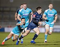 8th January 2021; AJ Bell Stadium, Salford, Lancashire, England; English Premiership Rugby, Sale Sharks versus Worcester Warriors; AJ Macginty of Sale Sharks is tackled by Francois Hougaard of Worcester Warriors