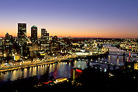 Pittsburgh, skyline, sunrise, PA, Pennsylvania, aerial view of the downtown skyline of Pittsburgh along the Monongahela River at sunrise.
