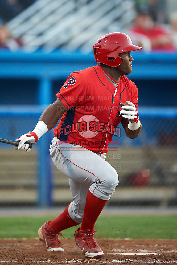 Williamsport Crosscutters outfielder Larry Greene #24 during a NY-Penn League game against the Batavia Muckdogs at Dwyer Stadium on August 24, 2012 in Batavia, New York.  Williamsport defeated Batavia 7-4.  (Mike Janes/Four Seam Images)