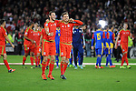UEFA EURO 2016 Qualifier match between Wales and Andorra at Cardiff City Stadium in Cardiff : Gareth Bale and Aaron Ramsey celebrating at full time.