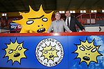 Partick Thistle launch new sponsor, Califonia based Kingsford Capital Management and new mascot Kingsley designed by artist David Shrigley. Pictured are US investor Mike Wilkins and Ian Maxwell, Partick Thistle MD
