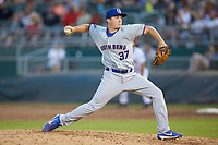 South Bend Cubs relief pitcher Garrett Kelly (37) in action against the Lansing Lugnuts at Cooley Law School Stadium on June 15, 2018 in Lansing, Michigan. The Lugnuts defeated the Cubs 6-4.  (Brian Westerholt/Four Seam Images)
