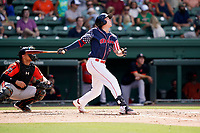 Center fielder Tyler Esplin (25) of the Greenville Drive in a game against the Aberdeen IronBirds on Sunday, July 11, 2021, at Fluor Field at the West End in Greenville, South Carolina. The catcher is Christopher Burgess (24). (Tom Priddy/Four Seam Images)