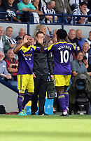 Sunday 01 September 2013<br /> Pictured: (L-R) Jonathan de Guzman, Wilfried Bony.<br /> Re: Barclay's Premier League, West Bromwich Albion v Swansea City FC at The Hawthorns, Birmingham, UK.