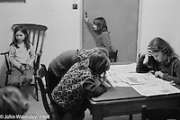 Quiet period after supper, Summerhill school, Leiston, Suffolk, UK. 1968.