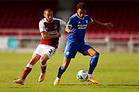5th September 2020; PTS Academy Stadium, Northampton, East Midlands, England; English Football League Cup, Carabao Cup, Northampton Town versus Cardiff City; Josh Murphy of Cardiff City competes for the ball with Michael Harriman of Northampton Town