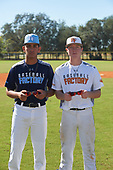 Juhlien Gonzalez (8) of Southwest Ranches, Florida and Payton Allen (14) of Bentonville, Arkansas during the Baseball Factory All-America Pre-Season Rookie Tournament, powered by Under Armour, on January 14, 2018 at Lake Myrtle Sports Complex in Auburndale, Florida.  (Michael Johnson/Four Seam Images)
