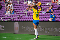 ORLANDO CITY, FL - FEBRUARY 21: Kathleen #2 of Brazil throws the ball in during a game between Brazil and USWNT at Exploria Stadium on February 21, 2021 in Orlando City, Florida.