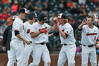 Oregon State Beavers pinch hitter Alex McGarry (44) is congratulated by teammates after hitting a two-run single during a game against the New Mexico Lobos on February 15, 2019 at Surprise Stadium in Surprise, Arizona. Oregon State defeated New Mexico 6-5. (Zachary Lucy/Four Seam Images)