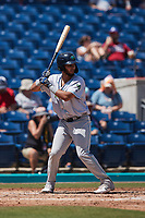 Miguel Jerez (38) of the Lynchburg Hillcats at bat against the Kannapolis Cannon Ballers at Atrium Health Ballpark on August 29, 2021 in Kannapolis, North Carolina. (Brian Westerholt/Four Seam Images)