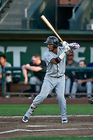 Jonathan Piron (2) of the Grand Junction Rockies at bat against the Ogden Raptors in Pioneer League action at Lindquist Field on August 24, 2016 in Ogden, Utah. The Raptors defeated the Rockies 11-10. (Stephen Smith/Four Seam Images)