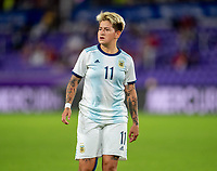 ORLANDO, FL - FEBRUARY 24: Yamila Rodriguez #11 of Argentina looks to the ball during a game between Argentina and USWNT at Exploria Stadium on February 24, 2021 in Orlando, Florida.