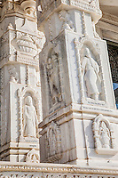 Jaipur, Rajasthan, India.  Religious Syncretism.  Moses, St. Anthony, and Zarathustra on  Marble Pillars of the Birla Mande Temple, also known as the Laxmi Narayan Temple, a Hindu Temple dedicated to Lord Vishnu (Narayan) and his consort Lakshmi.