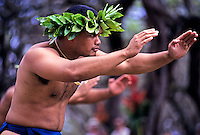 "Hula dancer performs at ""Ka Hula Piko"" (festival), Moloka'i, Hawaii"