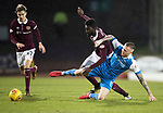 St Johnstone v Hearts…23.12.17…  McDiarmid Park…  SPFL<br />Prince Buaben and Denny Johnstone<br />Picture by Graeme Hart. <br />Copyright Perthshire Picture Agency<br />Tel: 01738 623350  Mobile: 07990 594431