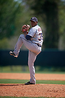 Detroit Tigers pitcher Gerson Moreno (39) during a minor league Spring Training game against the Atlanta Braves on March 25, 2017 at the ESPN Wide World of Sports Complex in Orlando, Florida.  (Mike Janes/Four Seam Images)