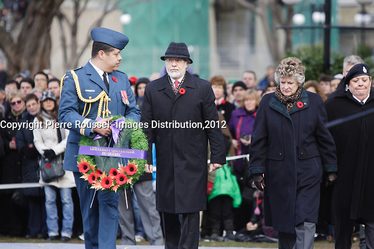 Nov 11, 2012 - Montreal, Quebec, CANADA -  Remembrance Day -  Pierre Duchesne, Lieutenant Governor of Quebec
