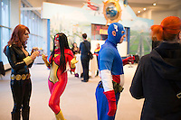 L-R, Jeri Kandra, Abi Sue. C. and A.J. Roberts, fans of the Captain Marvel and Ms. Marvel comics, hang out during the Carol Corps Celebration Thursday March 27, 2014 at the Museum of Flight in Seattle. Held the day before Emerald City Comicon kicked off, the event raised funds for Girls Leadership Institute and offered a chance for fans to meet and chat with Captain Marvel writer Kelly Sue DeConnick and Ms. Marvel writer G. Willow Wilson. Photo by Daniel Berman for WIRED.com