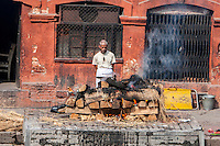 Nepal, Pashupatinath.  Cremation Stages.  A Family Member Oversees the Burning of the Corpse.