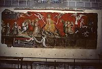 Europe/France/Auvergne/63/Puy-de-Dôme/Ennezat: L'église Saint-Victor (ancienne collégiale Saint-Victor et Sainte Couronne) - Peinture à la cire de 1405 représentant le Jugement Dernier (1ère travée du collatéral droit)