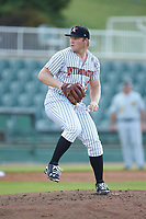 Kannapolis Intimidators starting pitcher Drew Harrington (13) in action against the West Virginia Power at Kannapolis Intimidators Stadium on July 25, 2018 in Kannapolis, North Carolina. The Intimidators defeated the Power 6-2 in 8 innings in game one of a double-header. (Brian Westerholt/Four Seam Images)