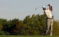 NBA legend Michael Jordan hits during the 2007 Wachovia Championships at Quail Hollow Country Club in Charlotte, NC.
