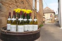 Winery shop. Bottles outside a producer's.  Domaine Michel Voarick. Aloxe-Corton village, Cote de Beaune, d'Or, Burgundy, France