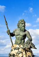 Bronze King Neptune statue along the boardwalk in Virginia Beach, Virginia, USA