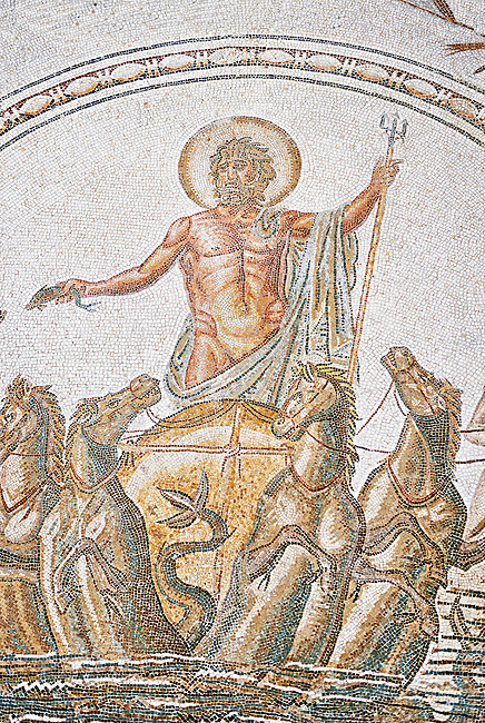 Detail from the Roman mosaic panel of the Triumph of Neptune and  the mytrhical legend of The Four Seasons. From the private baths at Caput Vada (La Chebbs). End of the reign of Antoninus Pius, 138-161 AD. From Cheba, Tunisia.  The Thugga Room of The Bardo Museum, Tunis, Tunisia.