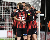 Junior Stanislas of AFC Bournemouth is mobbed after scoring the first goal during AFC Bournemouth vs Wycombe Wanderers, Sky Bet EFL Championship Football at the Vitality Stadium on 15th December 2020