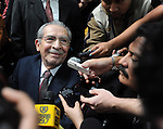 Former Guatemalan dictator, Efrain Rios Montt answers the media before the trial starts In the Supreme Court of Justice Guatemala CIty .March 19, 2013.