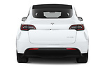 Straight rear view of 2021 Tesla Model-Y Long-Range-AWD 5 Door SUV Rear View  stock images