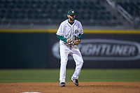Jackson Mims (27) of the Charlotte 49ers on defense against the North Carolina Tar Heels at BB&T BallPark on March 27, 2018 in Charlotte, North Carolina. The Tar Heels defeated the 49ers 14-2. (Brian Westerholt/Four Seam Images)