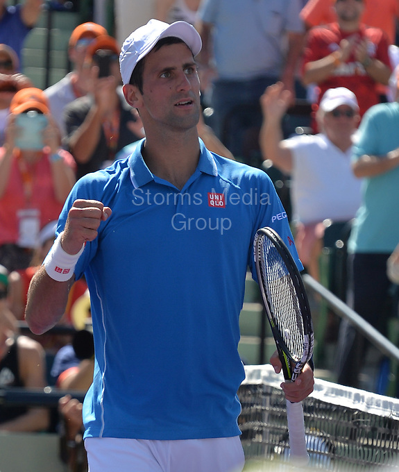 KEY BISCAYNE, FL - APRIL 05: Novak Djokovic of Serbia defeats Andy Murray of Great Britain in the mens final during the Miami Open at Crandon Park Tennis Center on April 5, 2015 in Key Biscayne, Florida<br /> <br /> <br /> People:  Novak Djokovic<br /> <br /> Transmission Ref:  FLXX<br /> <br /> Must call if interested<br /> Michael Storms<br /> Storms Media Group Inc.<br /> 305-632-3400 - Cell<br /> 305-513-5783 - Fax<br /> MikeStorm@aol.com