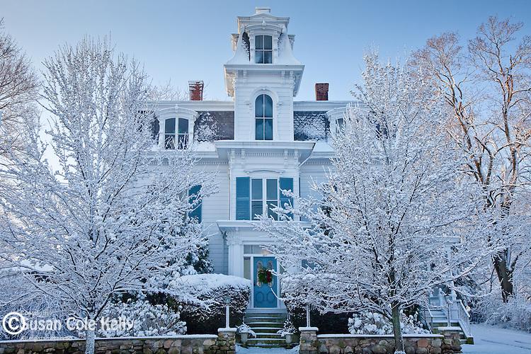 Winter on High Street in Newburyport, MA, USA