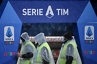 Some stewards arrange the Serie A setup prior to the Serie A football match between AS Roma and UC Sampdoria at Olimpico stadium in Roma (Italy), January 3rd, 2021. Photo Andrea Staccioli / Insidefoto