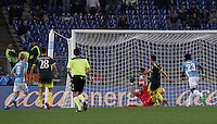 Calcio, Serie A: Lazio vs Milan. Roma, stadio Olimpico, 1 novembre 2015.<br /> AC Milan's Andrea Bertolacci, second from right, scores during the Italian Serie A football match between Lazio and Milan at Rome's Olympic stadium, 1 November 2015.<br /> UPDATE IMAGES PRESS/Isabella Bonotto