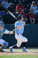 Tyler Lynn (20) of the North Carolina Tar Heels bats against the UCLA Bruins at Jackie Robinson Stadium on February 20, 2016 in Los Angeles, California. UCLA defeated North Carolina, 6-5. (Larry Goren/Four Seam Images)