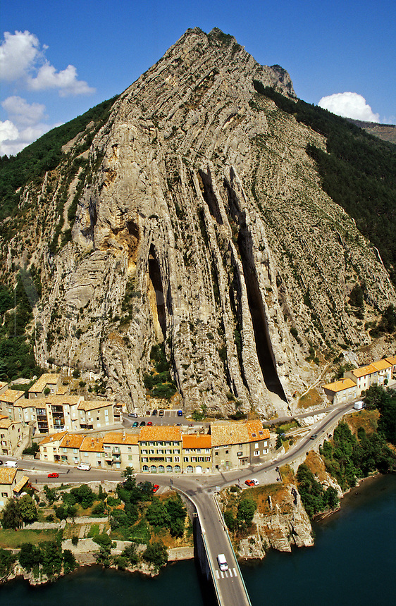View from Sisteron across the Gateway of Provence to the Rocher de la Baume. Provence, France..