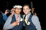 Josh's Best Man comes up with the garter.
