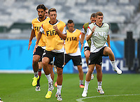 Mesut Ozil of Germany and his team mates during training ahead of tomorrow's semi final vs Brazil