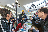 NDP leader Jagmeet Singh talks with people as he visits Alma in the riding of Lac St-Jean on October 10, 2017.<br /> <br /> PHOTO :  Francis Vachon - Agence Quebec Presse