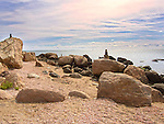 Hammonasset State Beach Park, Madison, CT. Meigs Point with cairns.