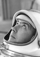 May 21, 1965 file Photo - Astronaut James A. McDivitt, commander of Gemini IV, suited in preparation for weight and balance tests. The objective of the Gemini IV mission was to evaluate and test the effects of four days in space on the crew, equipment and control systems. Pilot Edward White II successfully accomplished the first U.S. spacewalk during the Gemini IV mission.
