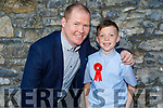 Pascal Buckley stands with Thomas Canty a former student of Gaelscoil Mhic Easmann receiving his Confirmation in St John's Church on Saturday.
