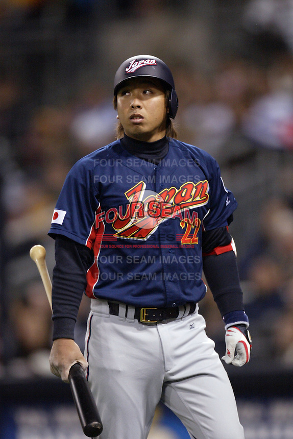 Tomoya Satozaki of Japan during World Baseball Championship at Petco Park in San Diego,California on March 20, 2006. Photo by Larry Goren/Four Seam Images